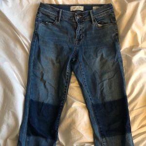Blue Skinny Jeans w/ knee patches PacSun